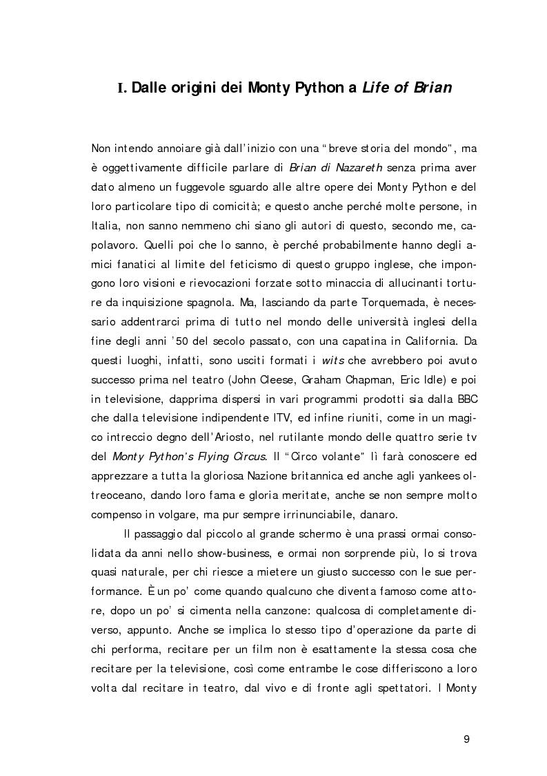 Anteprima della tesi: ''Non sono il Messia, lo giuro su Dio!''- Messianismo e modernità in ''Life of Brian'' dei Monty Python, Pagina 6