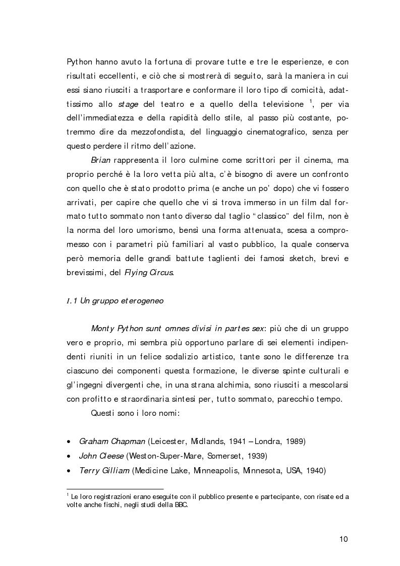 Anteprima della tesi: ''Non sono il Messia, lo giuro su Dio!''- Messianismo e modernità in ''Life of Brian'' dei Monty Python, Pagina 7