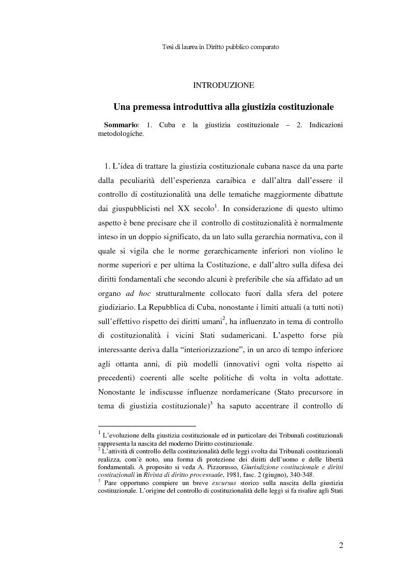 Anteprima della tesi: Il controllo di costituzionalità nell'ordinamento giuridico cubano, Pagina 1