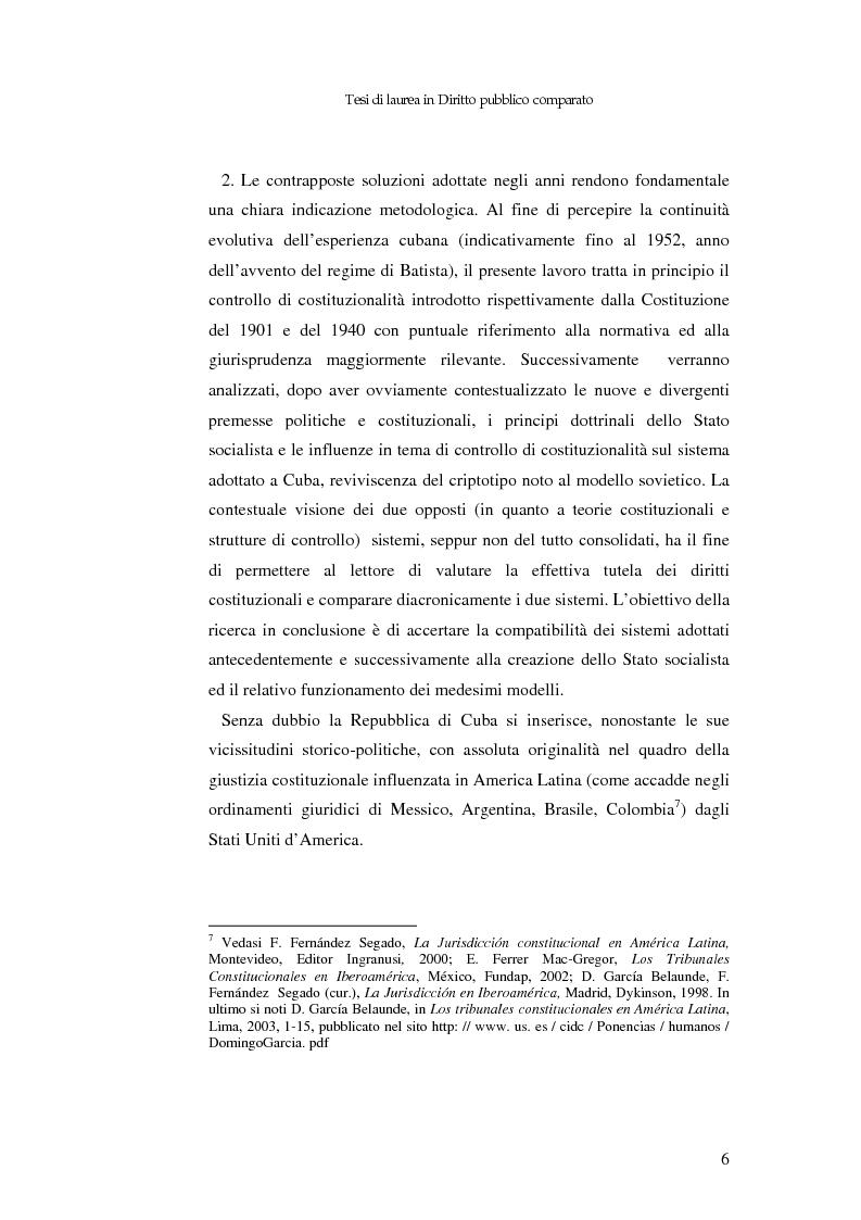 Anteprima della tesi: Il controllo di costituzionalità nell'ordinamento giuridico cubano, Pagina 5