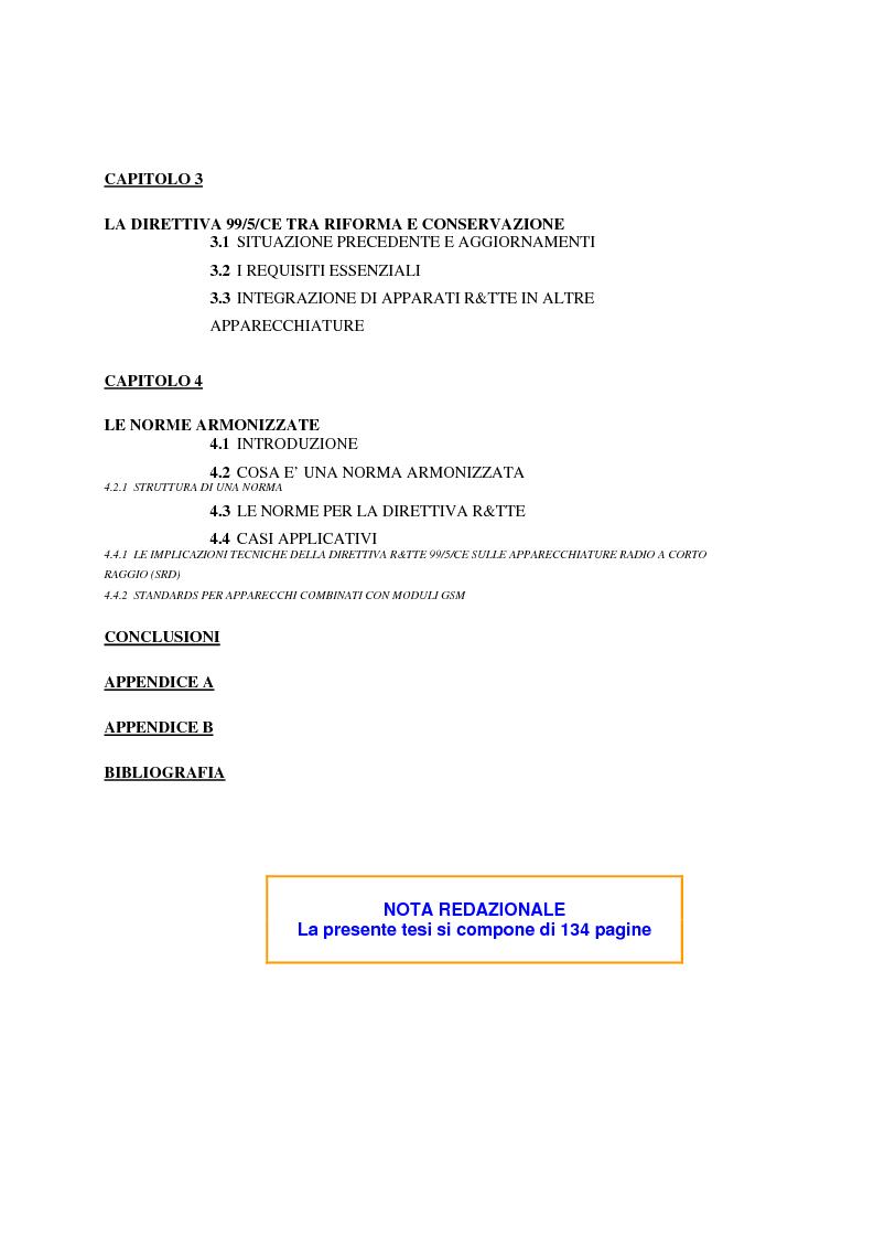 Indice della tesi: analisi e applicazione della direttiva R&TTE in un laboratorio di certficazione, Pagina 2