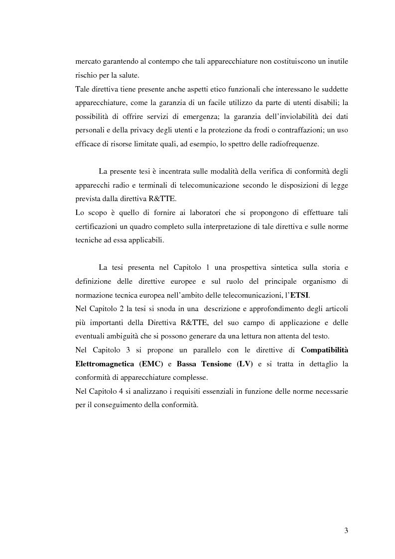 Anteprima della tesi: analisi e applicazione della direttiva R&TTE in un laboratorio di certficazione, Pagina 3