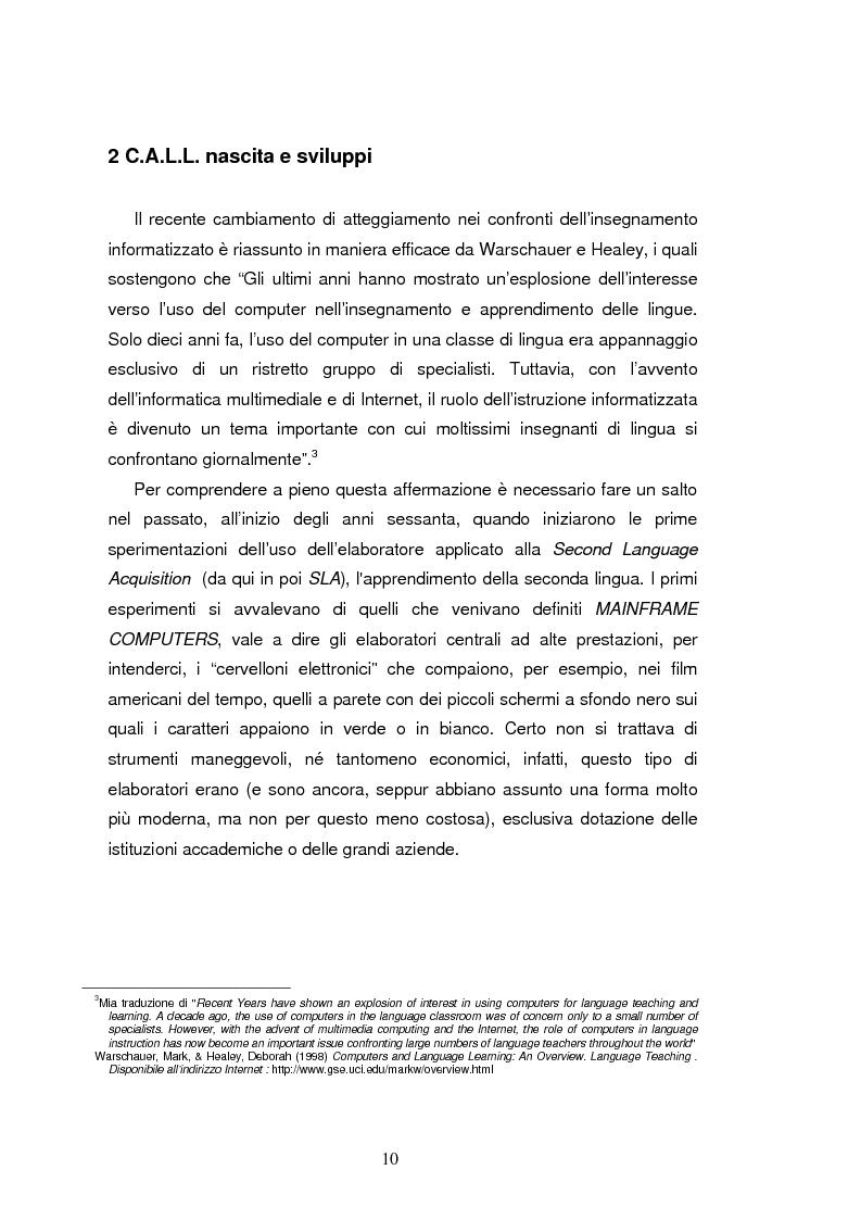 Anteprima della tesi: C.A.L.L. ( Computer Assisted Language Learning ), web based learning e supporti informatici per interpreti: esordi, sviluppi e prospettive, Pagina 10
