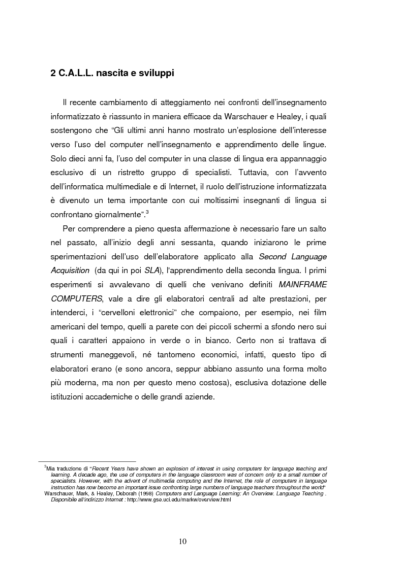 Anteprima della tesi: C.A.L.L. ( Computer Assisted Language Learning ), web based learning e supporti informatici per interpreti: esordi, sviluppi e prospettive, Pagina 10