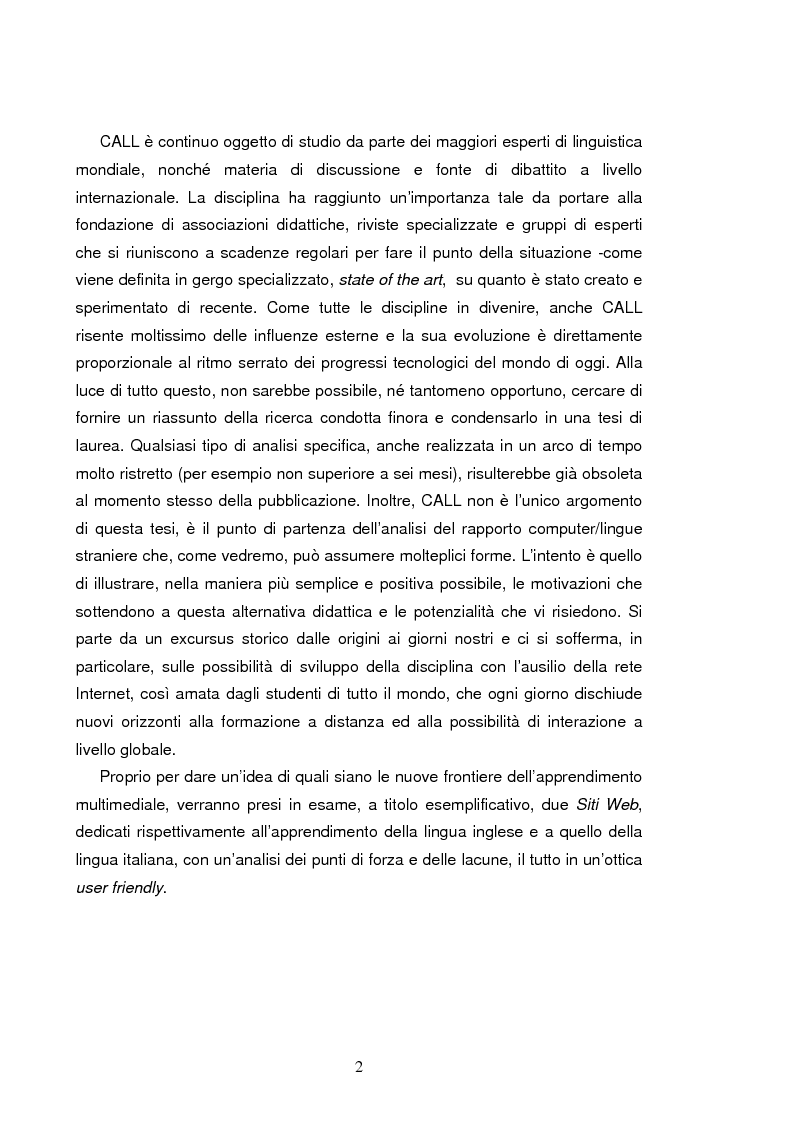 Anteprima della tesi: C.A.L.L. ( Computer Assisted Language Learning ), web based learning e supporti informatici per interpreti: esordi, sviluppi e prospettive, Pagina 2