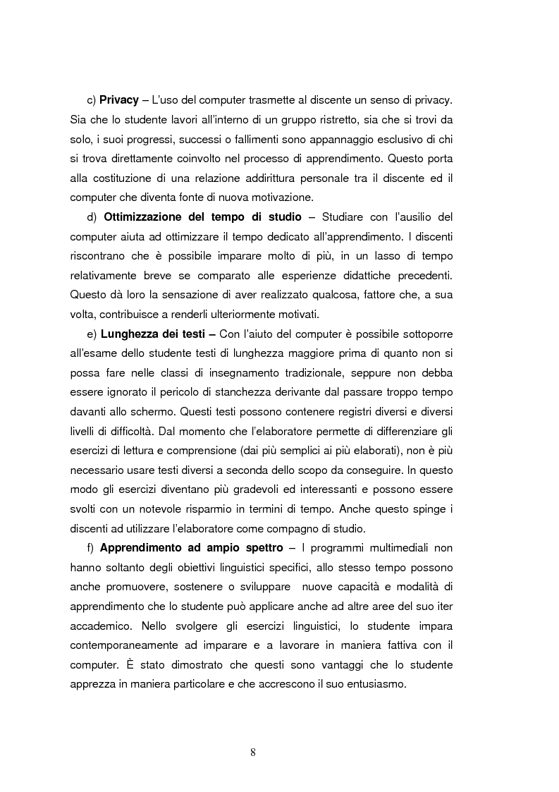 Anteprima della tesi: C.A.L.L. ( Computer Assisted Language Learning ), web based learning e supporti informatici per interpreti: esordi, sviluppi e prospettive, Pagina 8