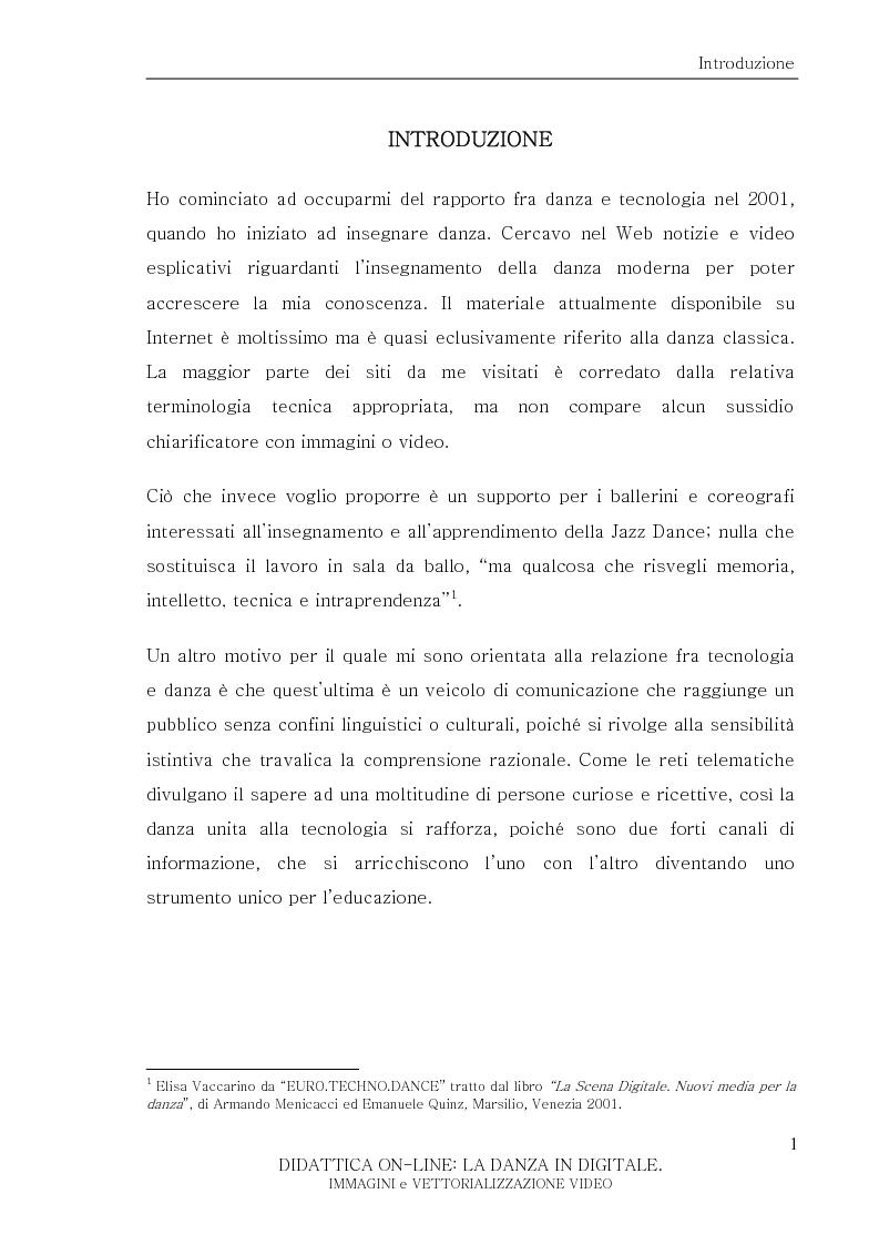 Anteprima della tesi: Didattica On-Line: La Danza in Digitale. Immagini e Vettorializzazione Video, Pagina 1