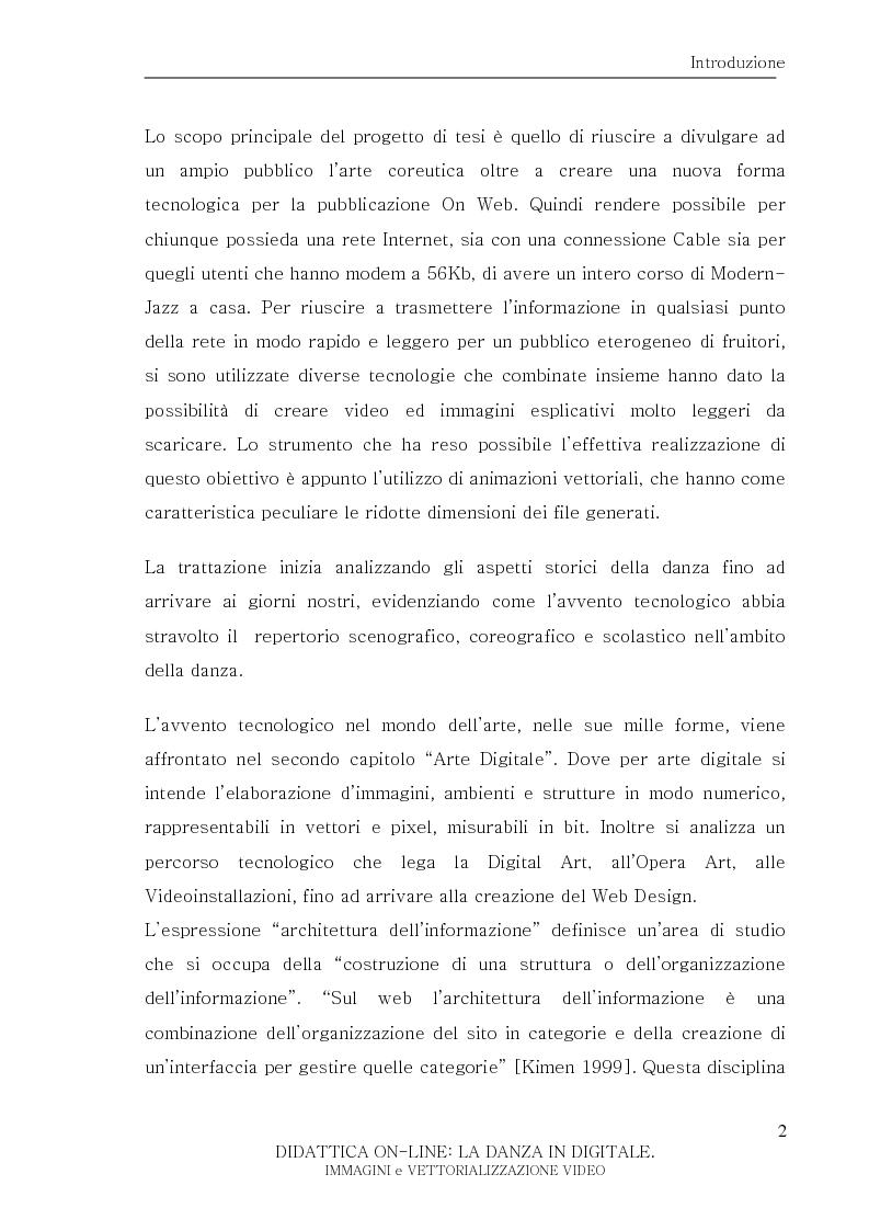 Anteprima della tesi: Didattica On-Line: La Danza in Digitale. Immagini e Vettorializzazione Video, Pagina 2