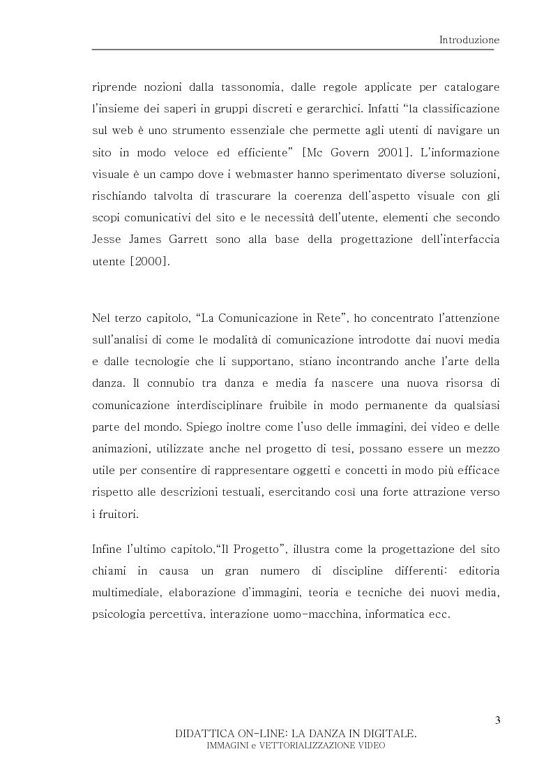 Anteprima della tesi: Didattica On-Line: La Danza in Digitale. Immagini e Vettorializzazione Video, Pagina 3