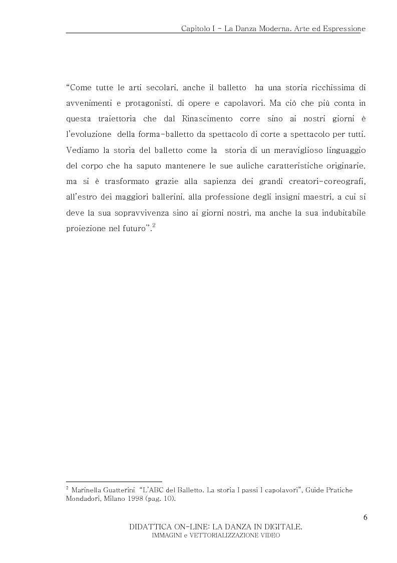 Anteprima della tesi: Didattica On-Line: La Danza in Digitale. Immagini e Vettorializzazione Video, Pagina 6