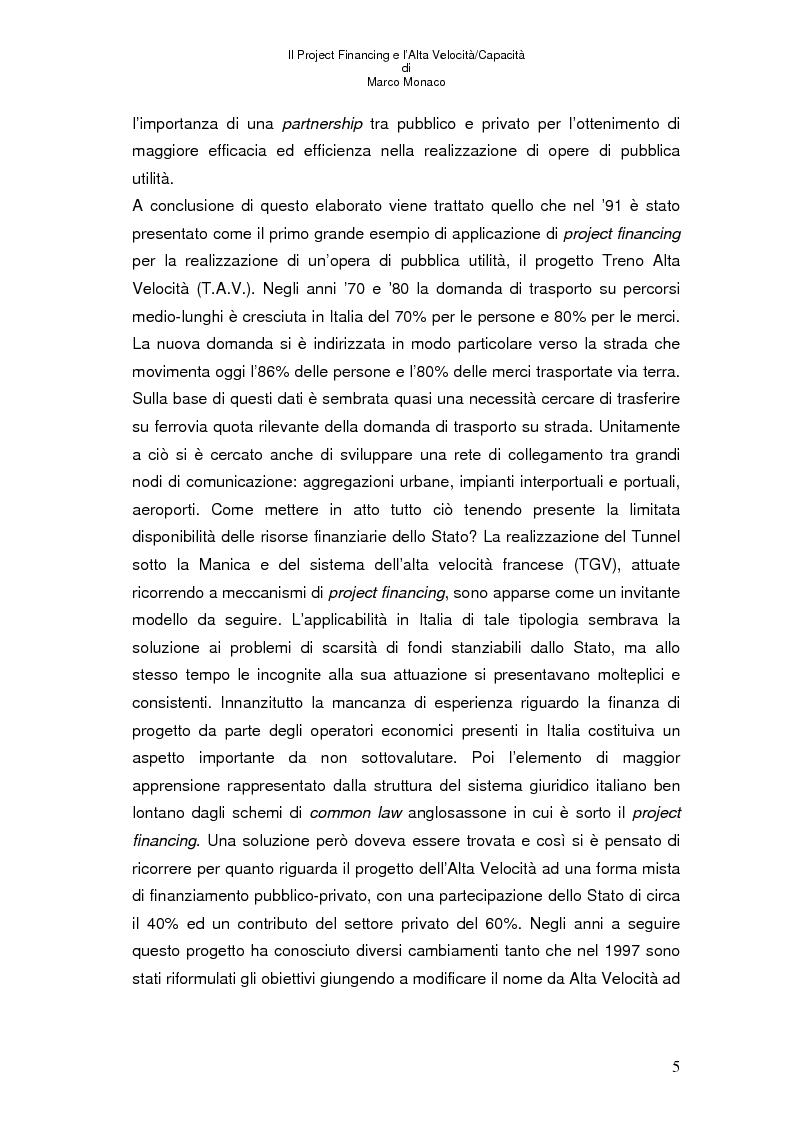Anteprima della tesi: Il project financing e l'alta velocità/capacità, Pagina 1