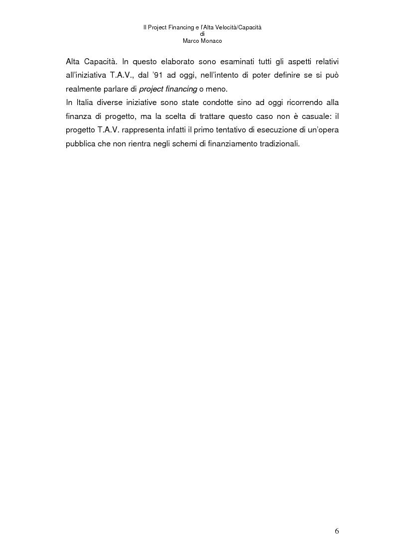 Anteprima della tesi: Il project financing e l'alta velocità/capacità, Pagina 2