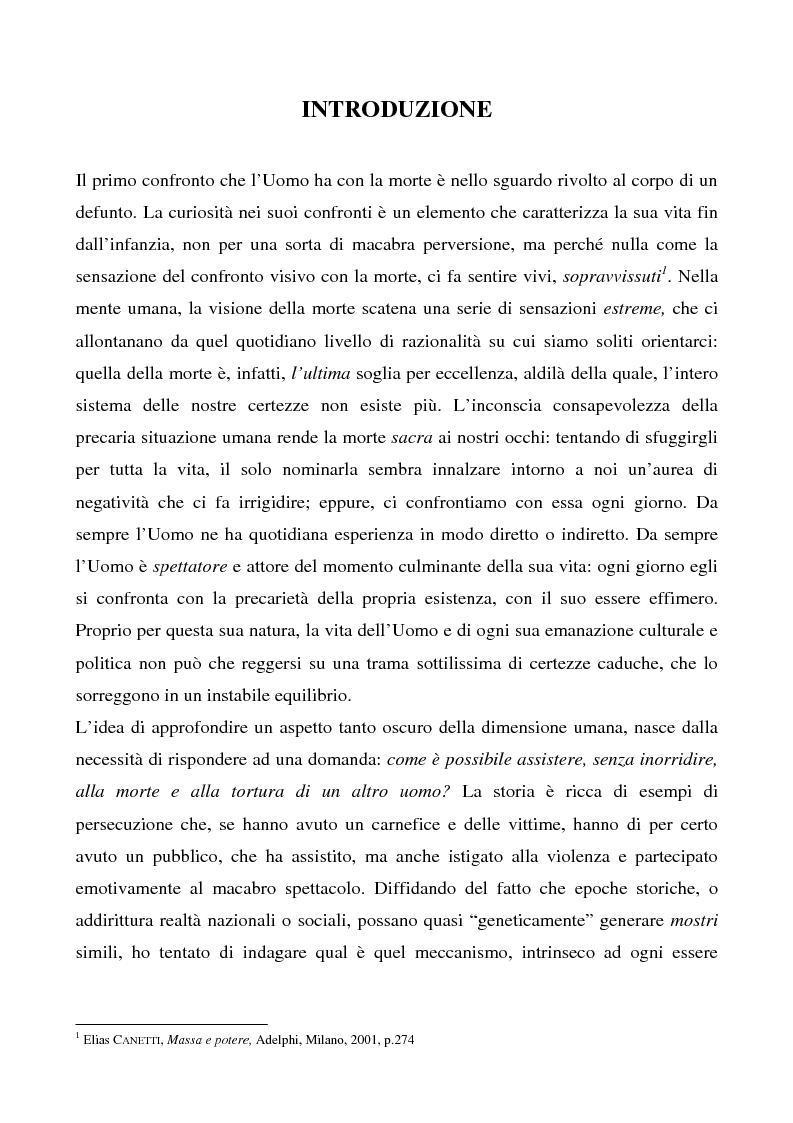 Anteprima della tesi: Lo spettacolo della morte e i suoi aspetti politici, Pagina 1