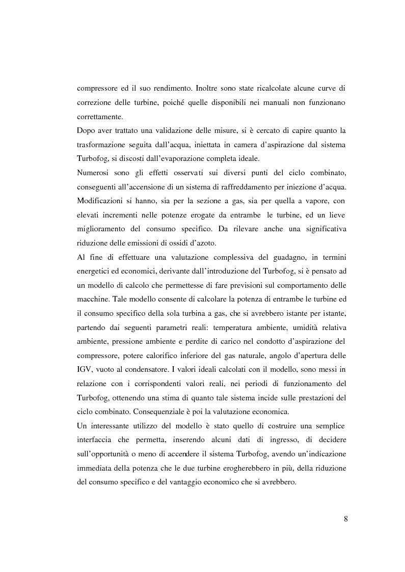 Anteprima della tesi: Valutazione tecnico economica di un sistema di raffreddamento ad iniezione d'acqua di una turbina a gas in un ciclo combinato, Pagina 2