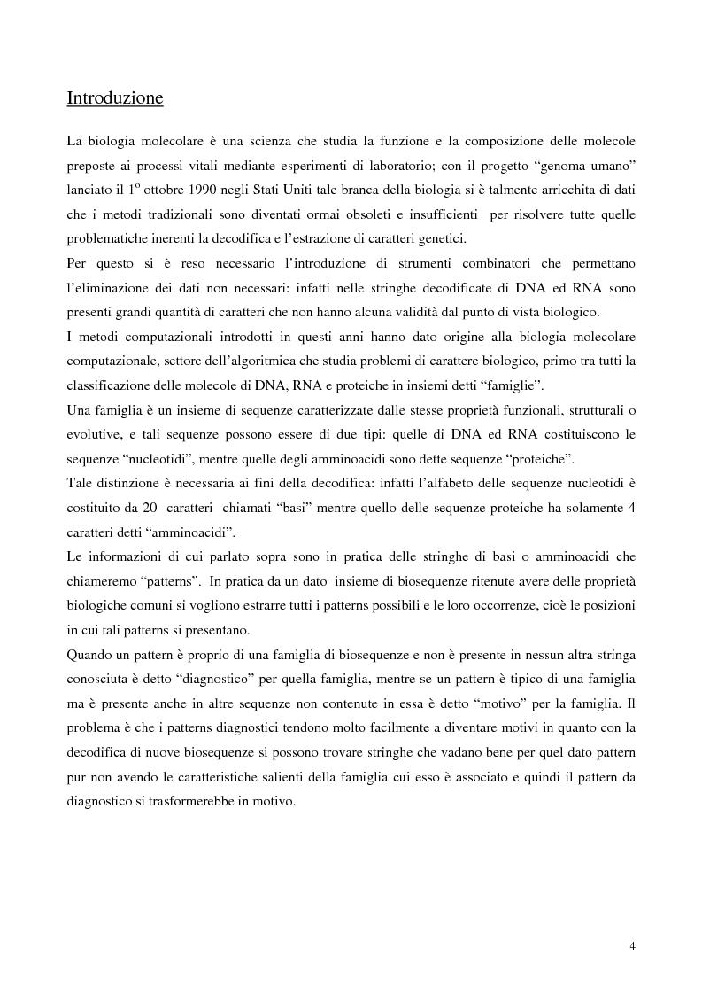 Anteprima della tesi: Teoria e ricerca di patterns in biosequenze, Pagina 1