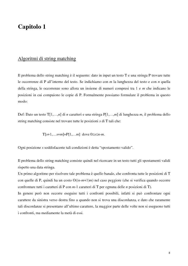 Anteprima della tesi: Teoria e ricerca di patterns in biosequenze, Pagina 5