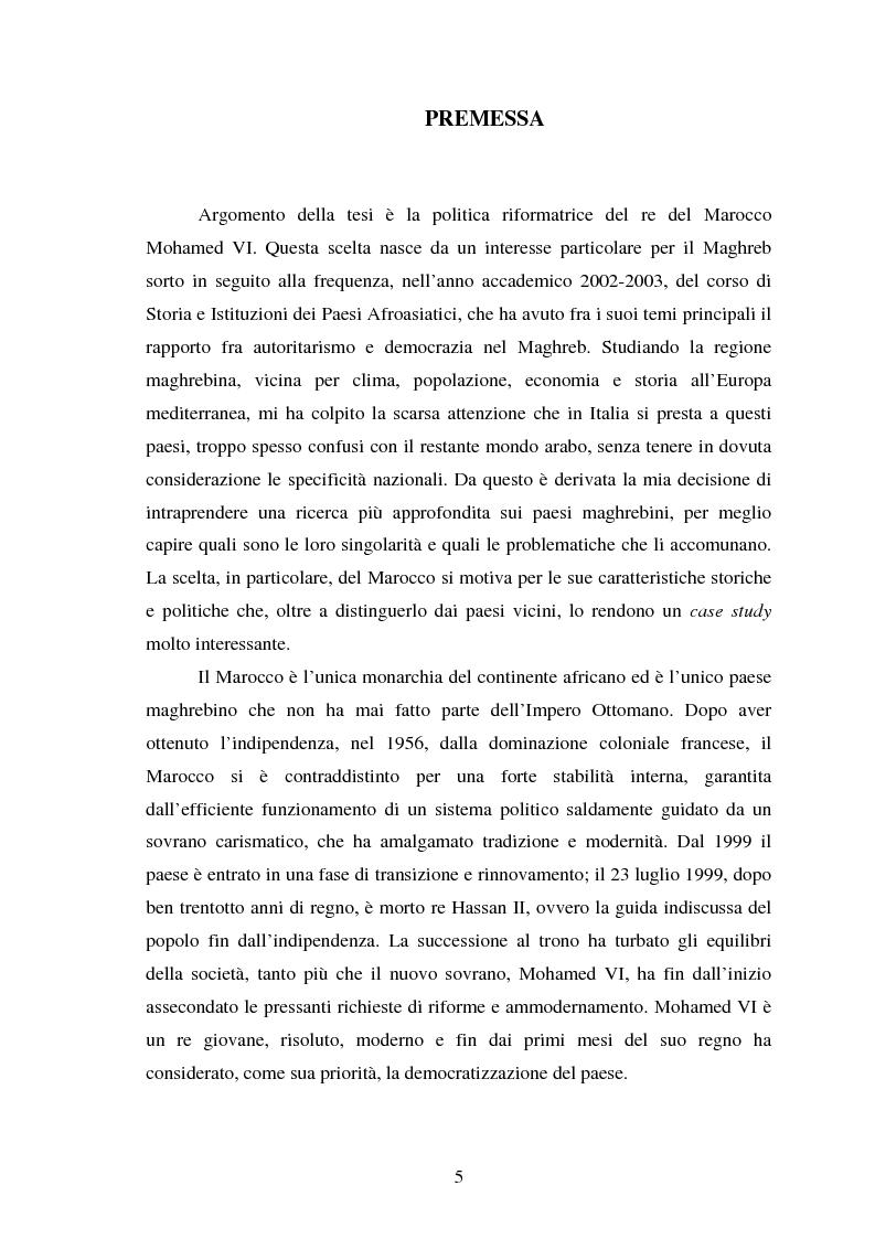 Anteprima della tesi: Il Marocco di Mohamed VI tra tradizione monarchica e tentativi di democratizzazione, Pagina 1