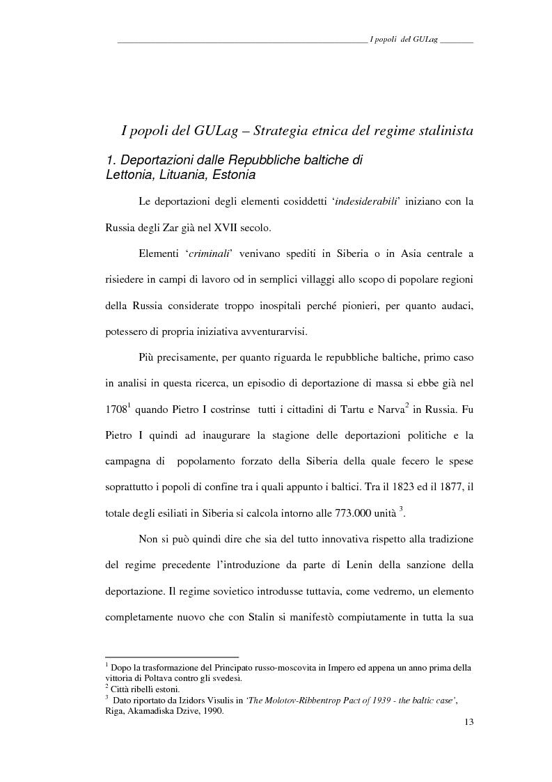Anteprima della tesi: I popoli del GULag - strategia etnica del regime stalinista, Pagina 9