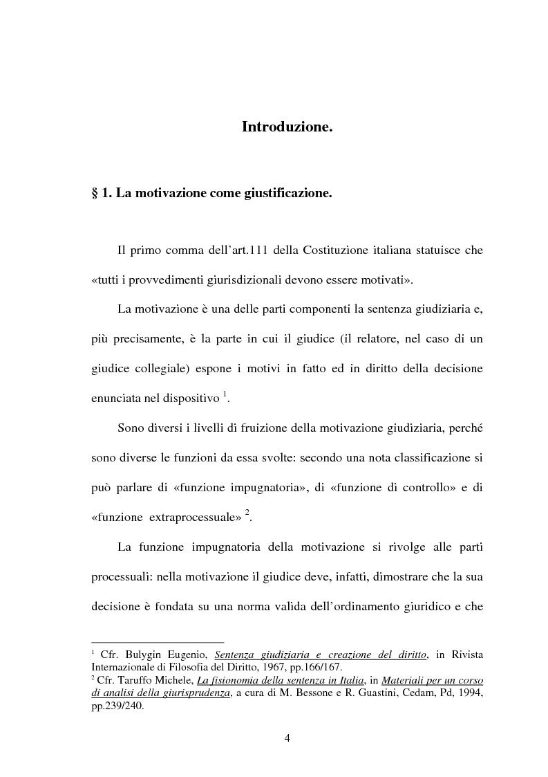 Anteprima della tesi: La Giustificazione. Motivazione e argomentazione nelle decisioni giudiziarie, Pagina 1
