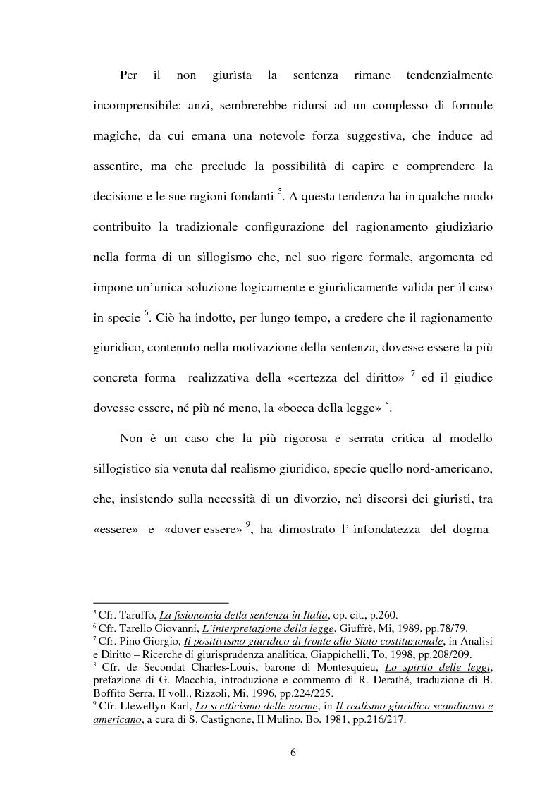 Anteprima della tesi: La Giustificazione. Motivazione e argomentazione nelle decisioni giudiziarie, Pagina 3