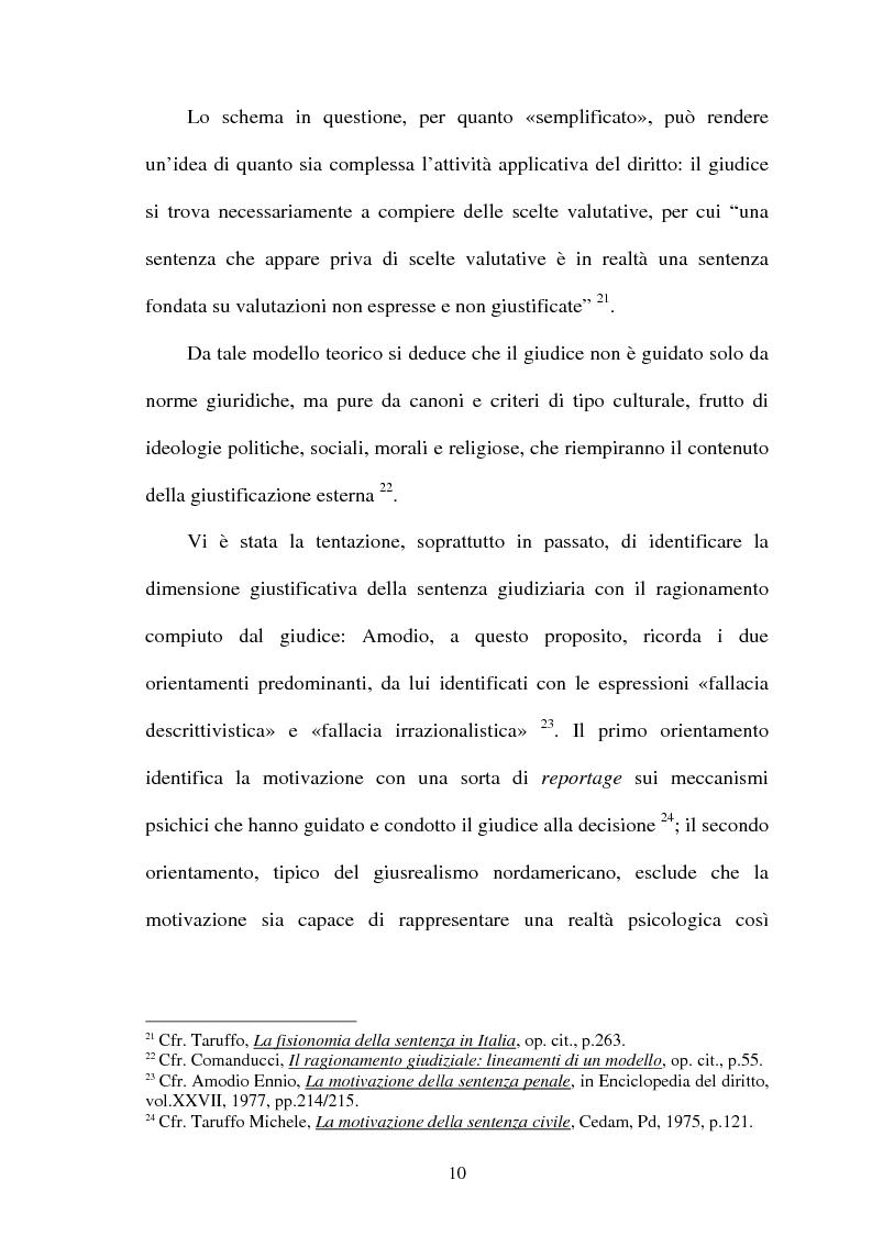 Anteprima della tesi: La Giustificazione. Motivazione e argomentazione nelle decisioni giudiziarie, Pagina 7