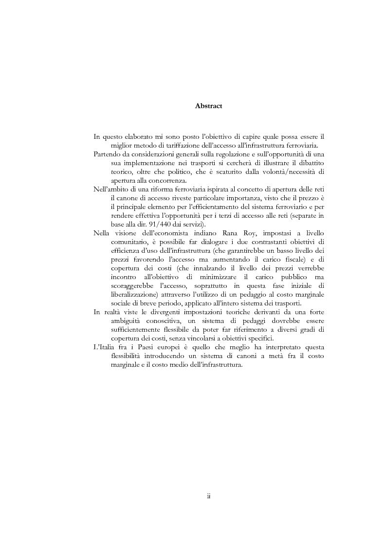 Anteprima della tesi: Il canone di accesso all'infrastruttura ferroviaria: aspetti teorici e applicativi di regolazione, Pagina 1