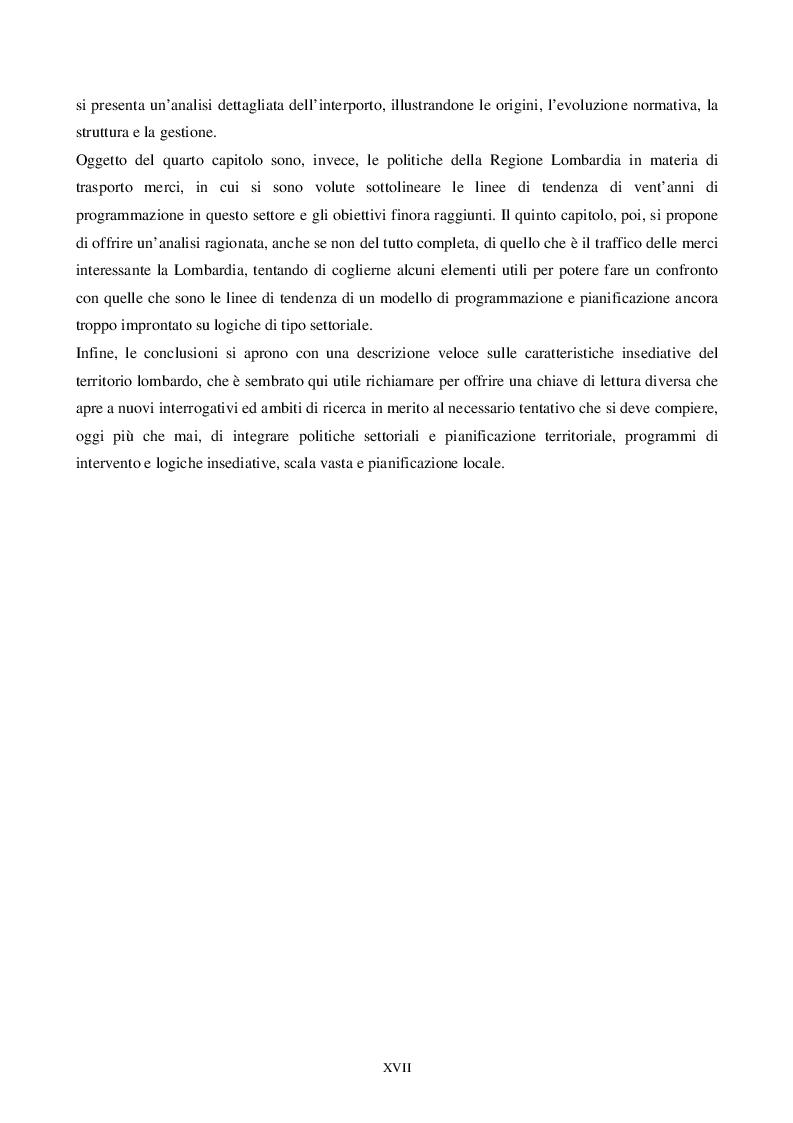 Anteprima della tesi: L'intermodalità tra programmazione in materia di trasporto merci ed equilibri territoriali: il caso Lombardia, Pagina 3