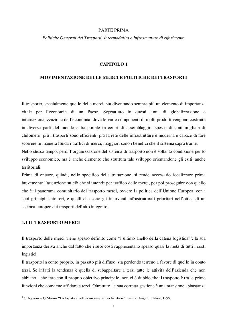 Anteprima della tesi: L'intermodalità tra programmazione in materia di trasporto merci ed equilibri territoriali: il caso Lombardia, Pagina 4