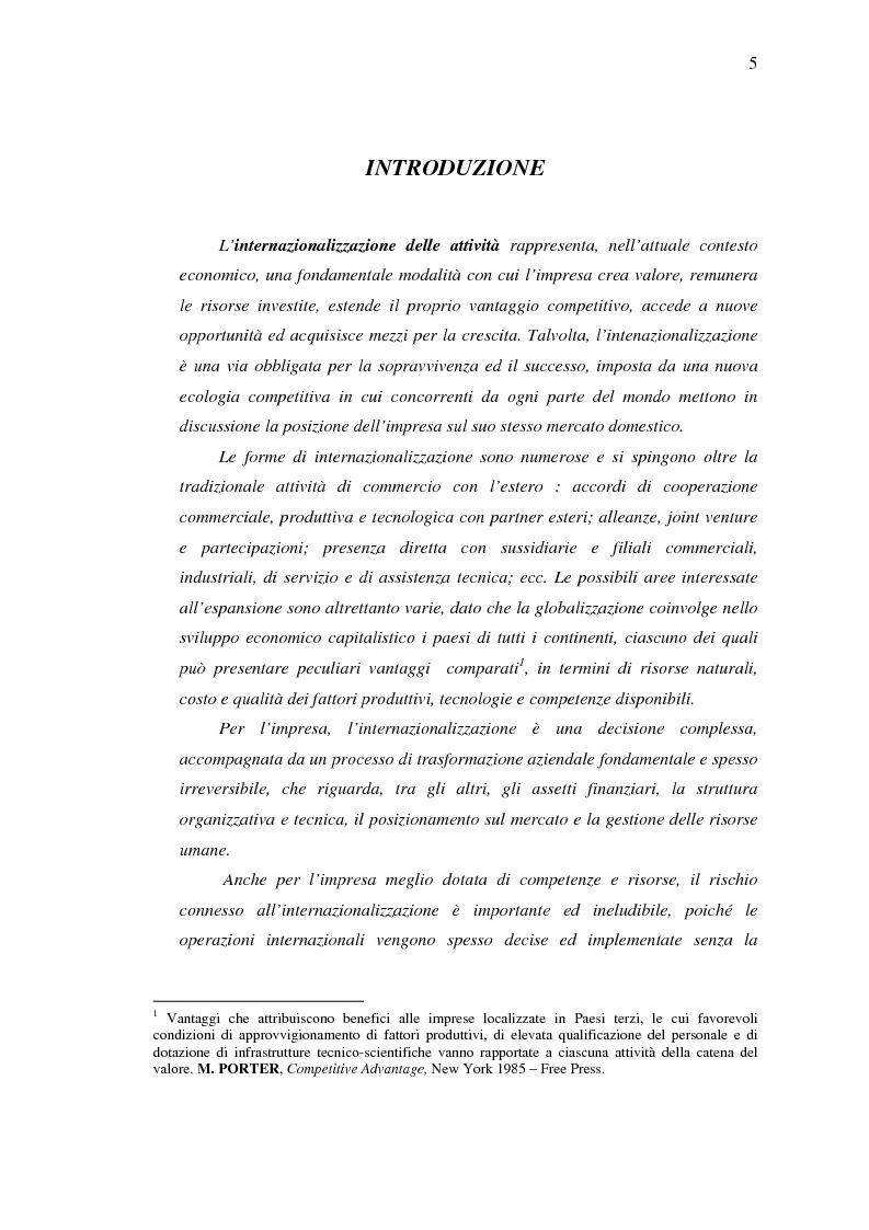 Anteprima della tesi: Strumenti di sostegno all'internazionalizzazione delle imprese: assicurazione e finanziamento agevolati, Pagina 1