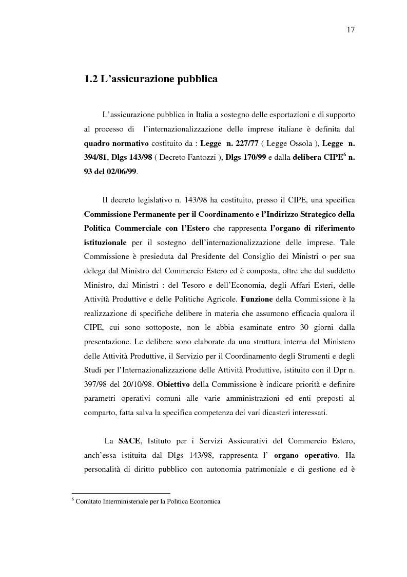Anteprima della tesi: Strumenti di sostegno all'internazionalizzazione delle imprese: assicurazione e finanziamento agevolati, Pagina 13