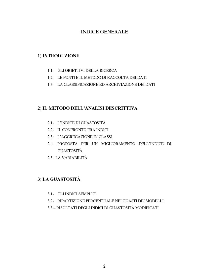 Indice della tesi: Elaborazioni e considerazioni sul problema affidabilità delle auto su dati inediti, Pagina 1