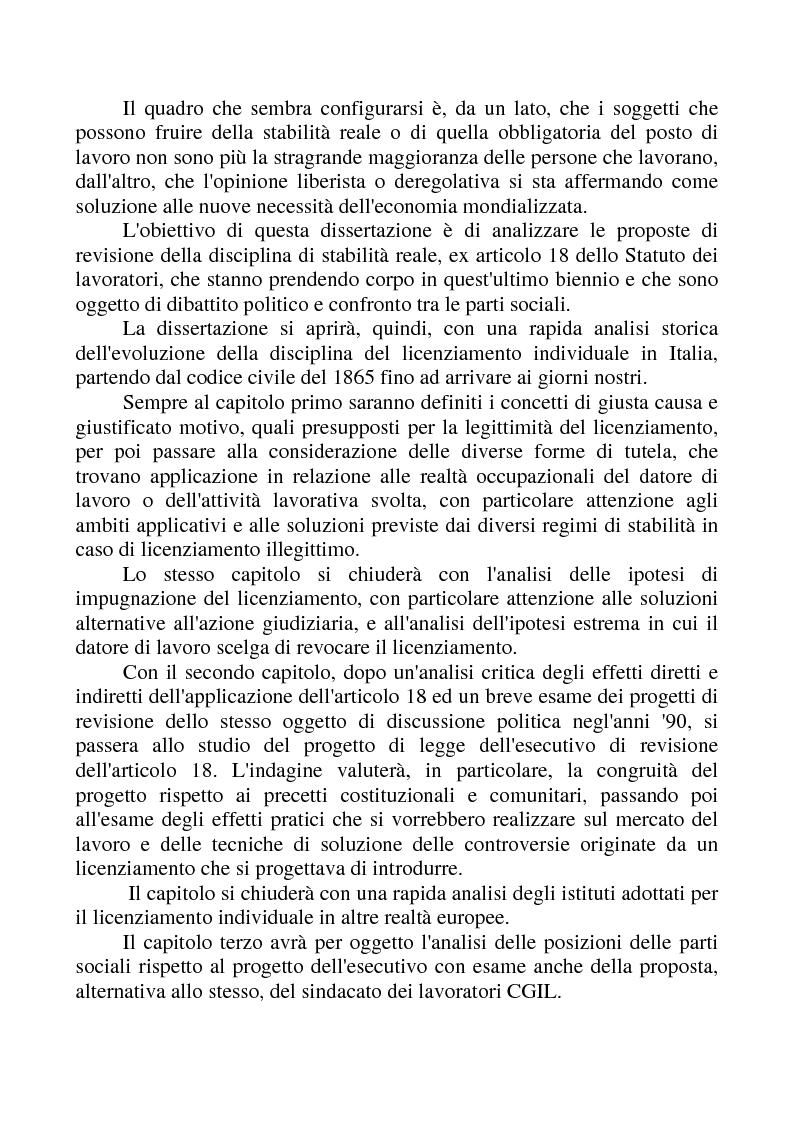 Anteprima della tesi: La revisione dell'articolo 18 dello Statuto dei Lavoratori, Pagina 3