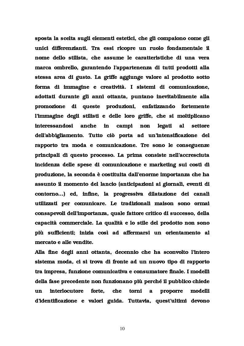 Anteprima della tesi: La comunicazione nel settore delle griffes dell'abbigliamento in Italia, Pagina 10