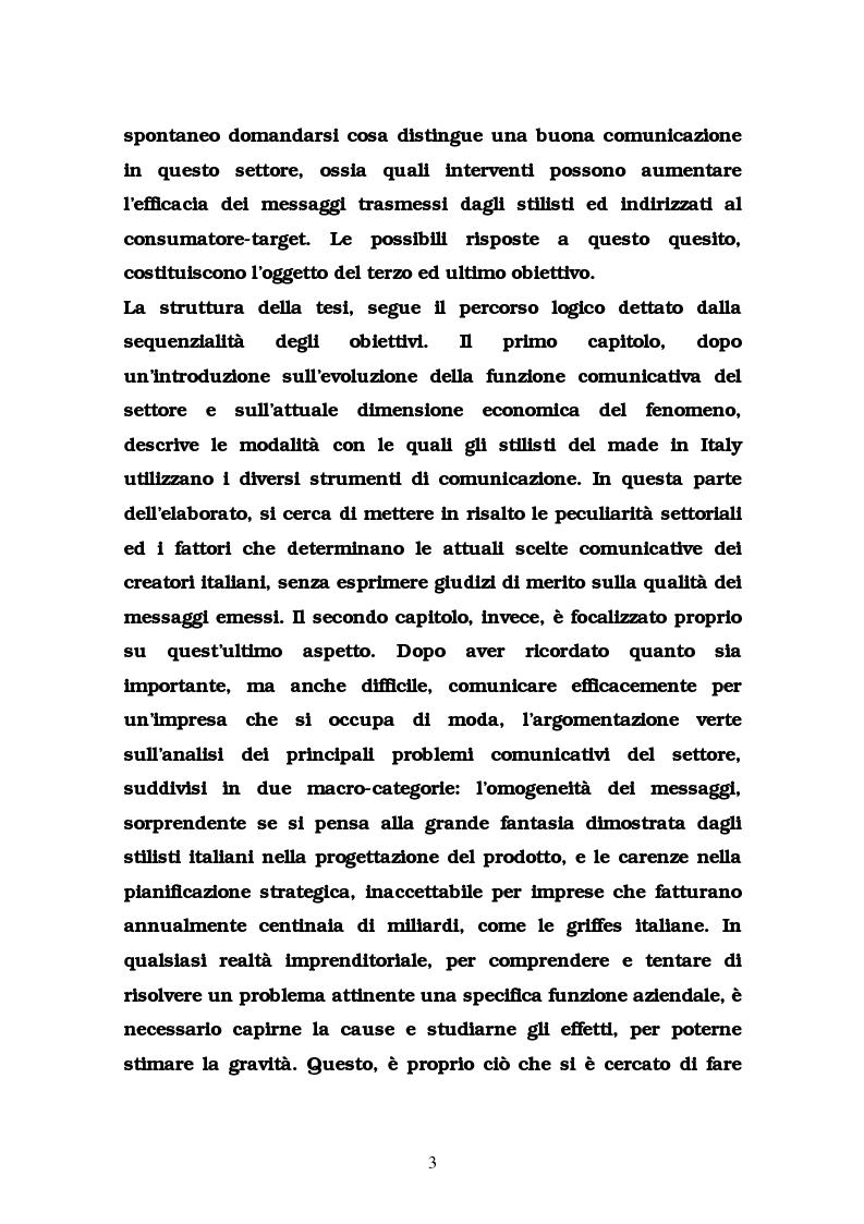 Anteprima della tesi: La comunicazione nel settore delle griffes dell'abbigliamento in Italia, Pagina 3
