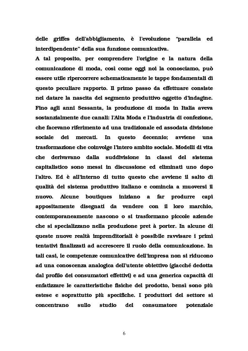 Anteprima della tesi: La comunicazione nel settore delle griffes dell'abbigliamento in Italia, Pagina 6