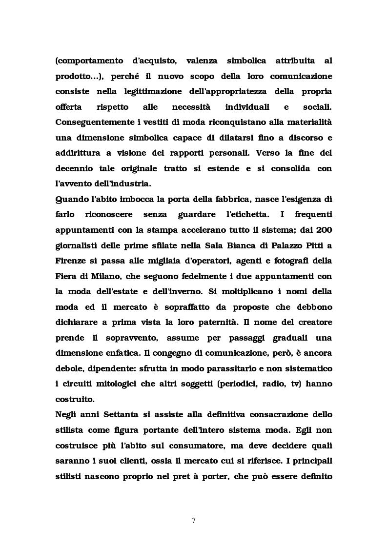 Anteprima della tesi: La comunicazione nel settore delle griffes dell'abbigliamento in Italia, Pagina 7