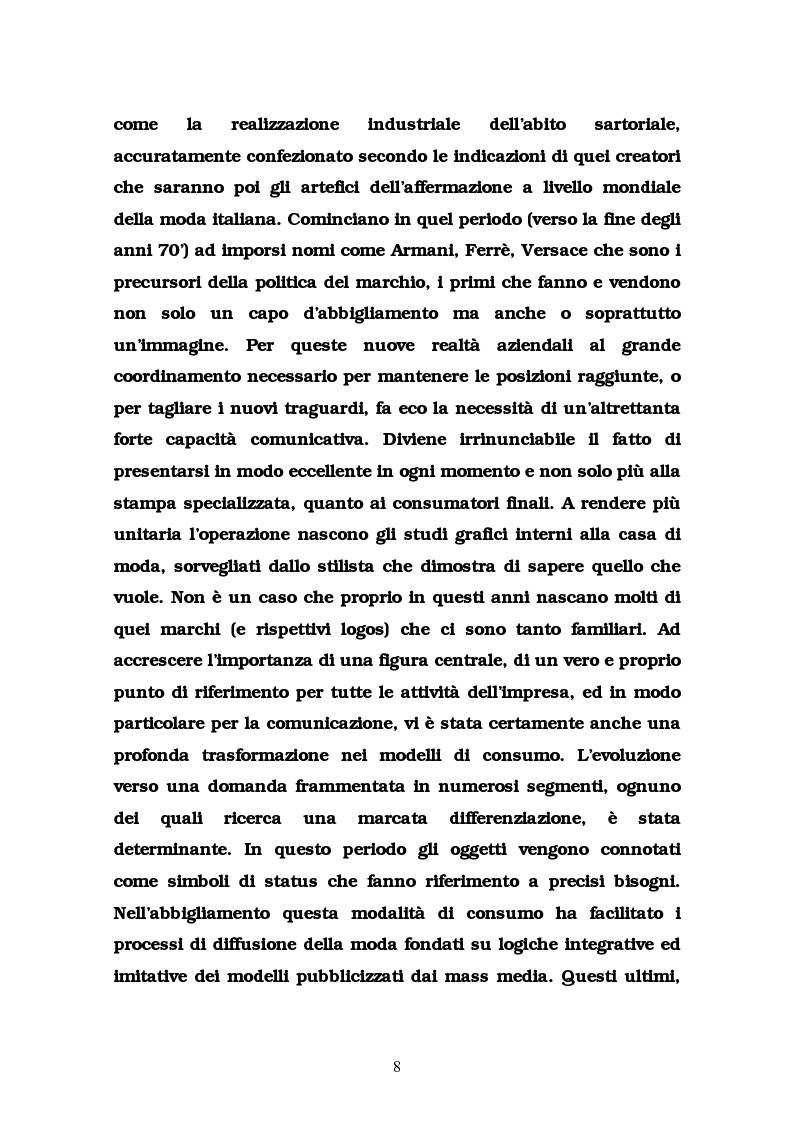 Anteprima della tesi: La comunicazione nel settore delle griffes dell'abbigliamento in Italia, Pagina 8