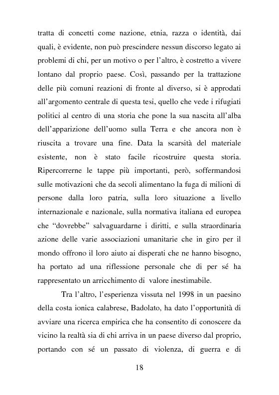 Anteprima della tesi: Rifugiati politici:un popolo in marcia. Percorsi di vita e di speranza da terre lontane a Badolato, Pagina 7