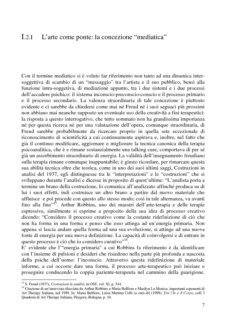 Anteprima della tesi: Per un'analisi dell'arte-terapia. Riflessione e metodologie nel pensiero psicoanalitico: da Freud all'Art Therapy Italiana, Pagina 10
