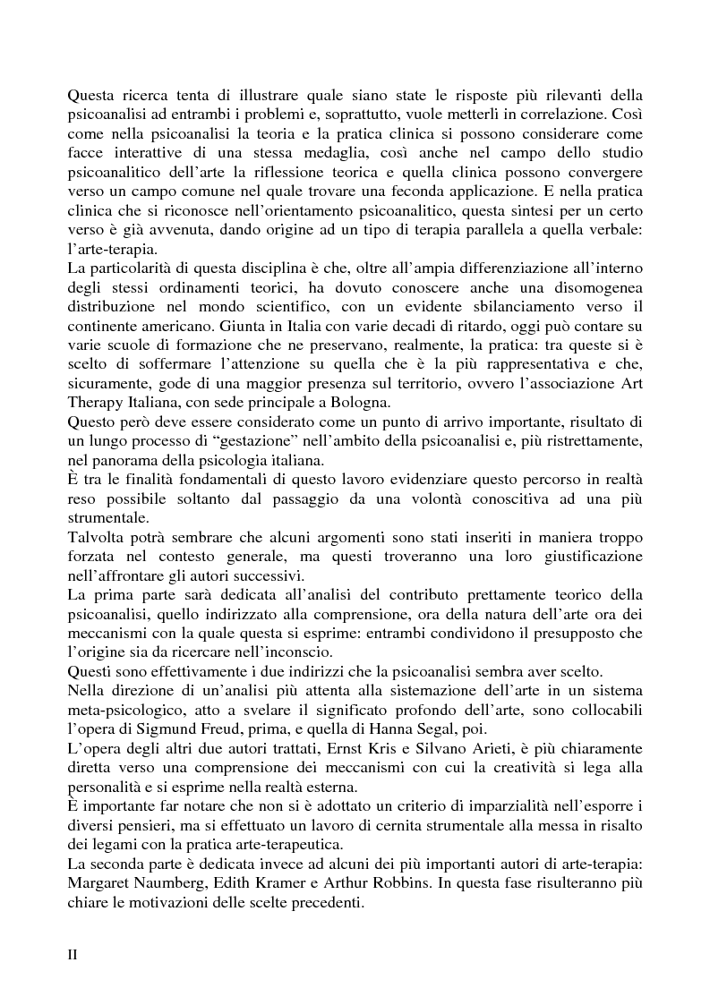 Anteprima della tesi: Per un'analisi dell'arte-terapia. Riflessione e metodologie nel pensiero psicoanalitico: da Freud all'Art Therapy Italiana, Pagina 2