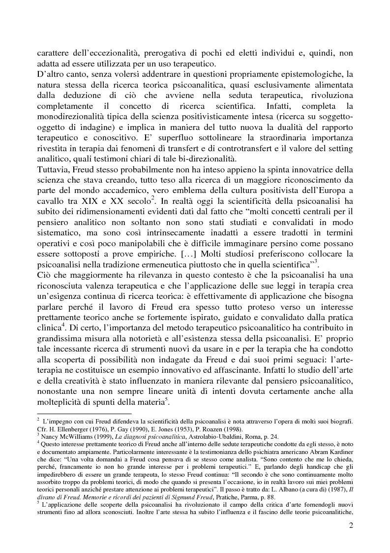 Anteprima della tesi: Per un'analisi dell'arte-terapia. Riflessione e metodologie nel pensiero psicoanalitico: da Freud all'Art Therapy Italiana, Pagina 5