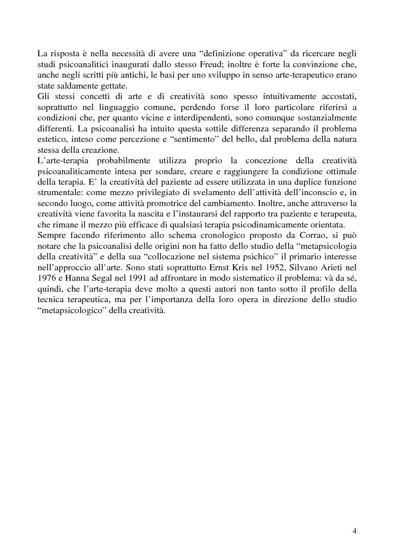 Anteprima della tesi: Per un'analisi dell'arte-terapia. Riflessione e metodologie nel pensiero psicoanalitico: da Freud all'Art Therapy Italiana, Pagina 7