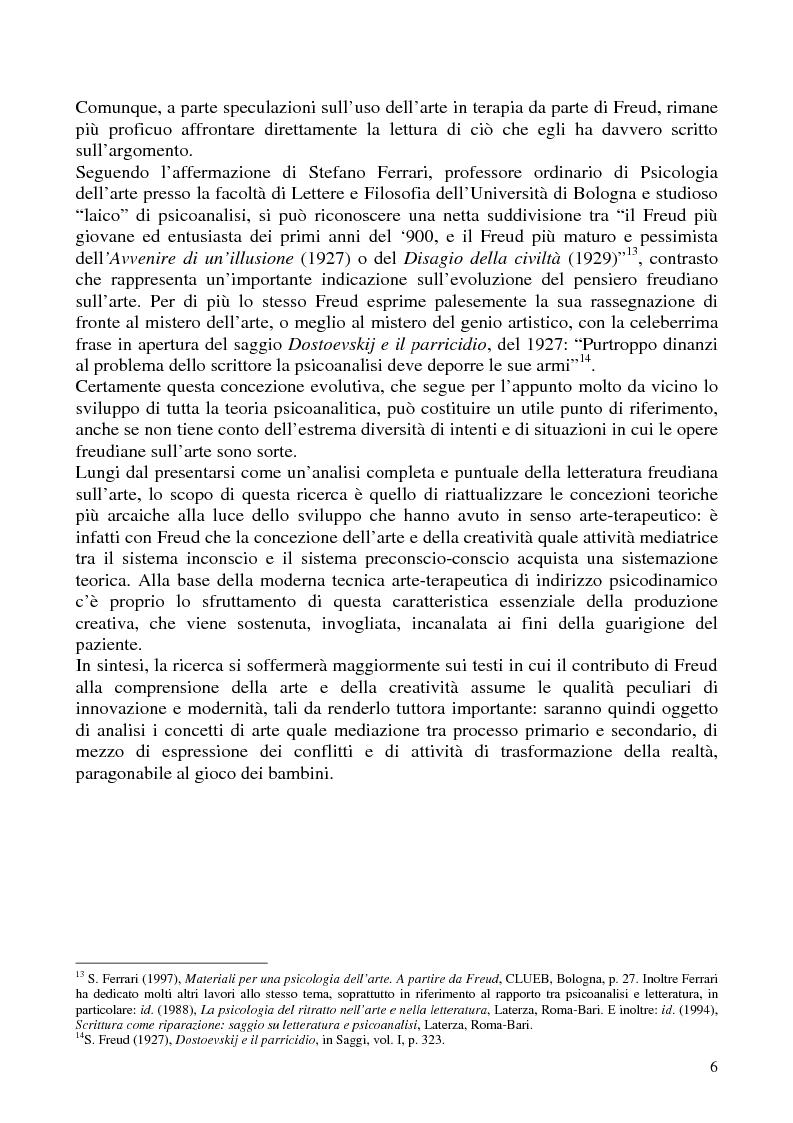 Anteprima della tesi: Per un'analisi dell'arte-terapia. Riflessione e metodologie nel pensiero psicoanalitico: da Freud all'Art Therapy Italiana, Pagina 9