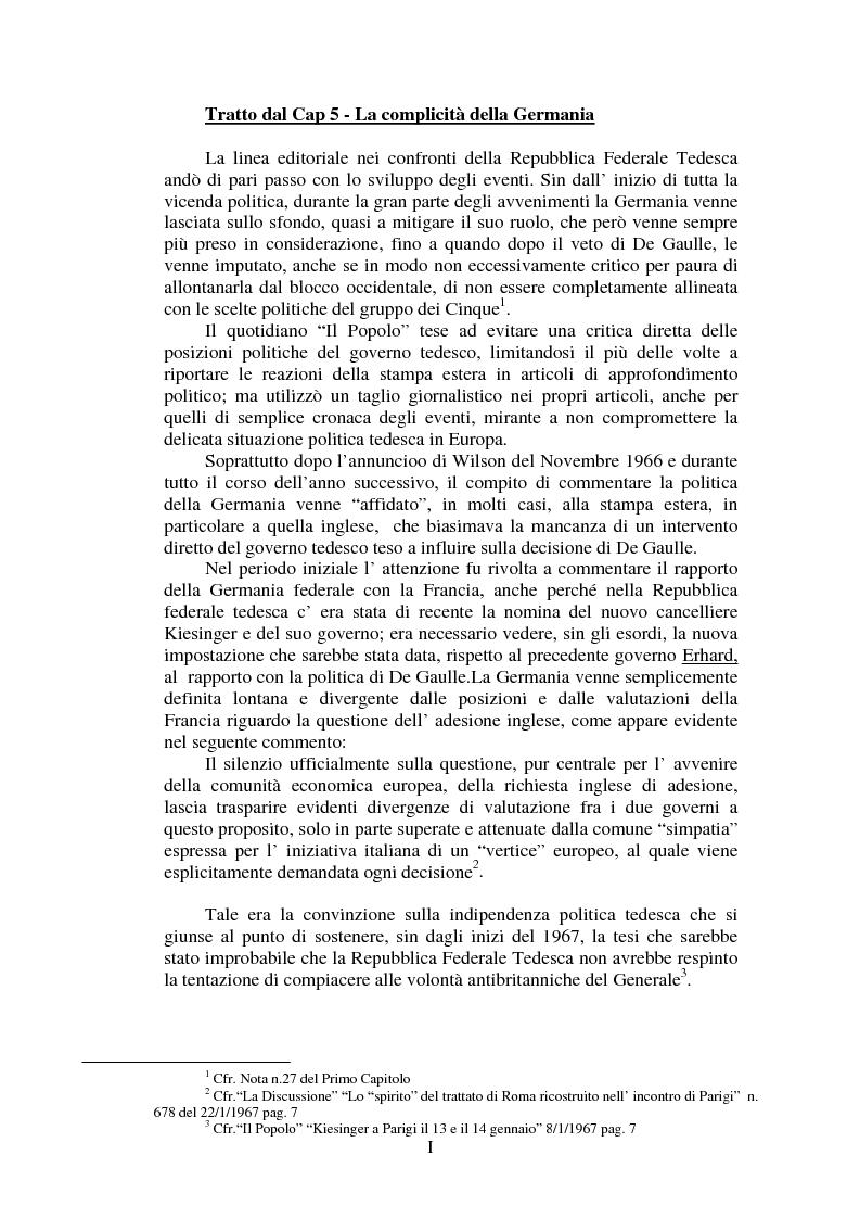 Anteprima della tesi: Il Popolo e la seconda richiesta di adesione della Gran Bretagna alla CEE, Pagina 1