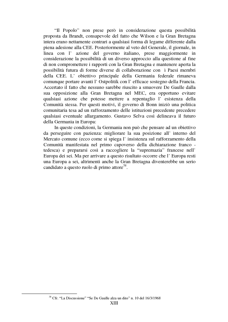 Anteprima della tesi: Il Popolo e la seconda richiesta di adesione della Gran Bretagna alla CEE, Pagina 13
