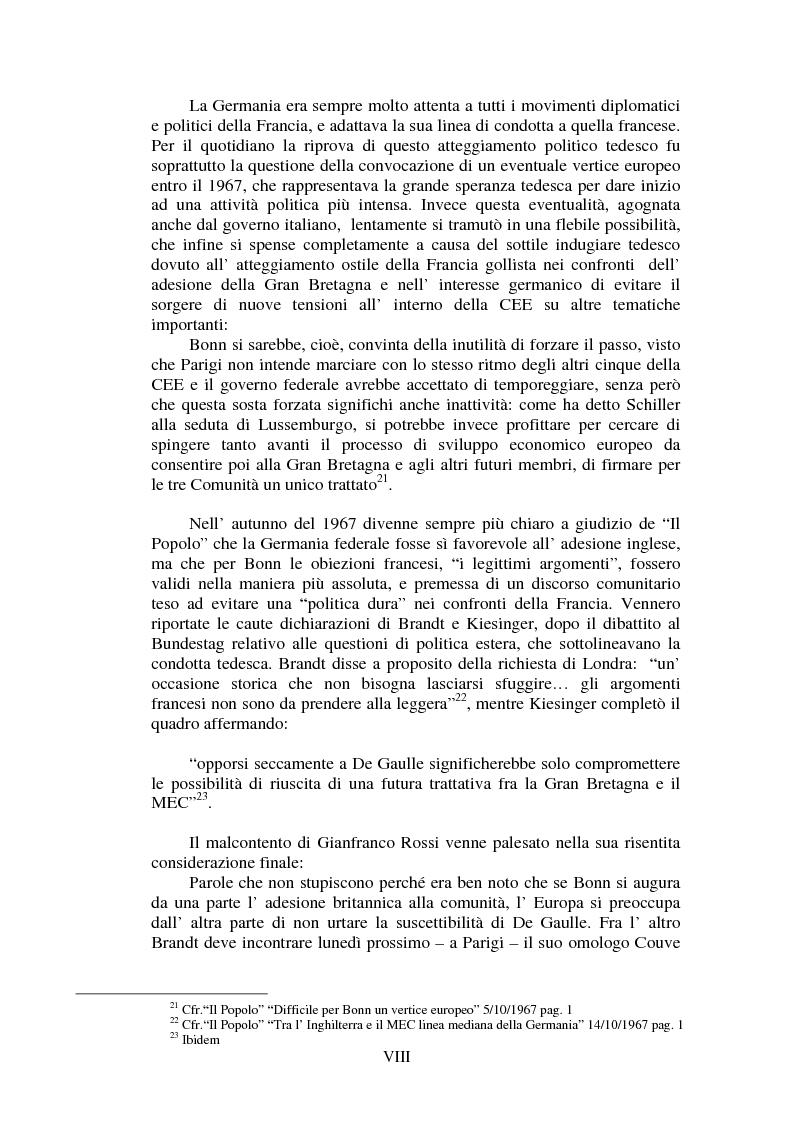 Anteprima della tesi: Il Popolo e la seconda richiesta di adesione della Gran Bretagna alla CEE, Pagina 8