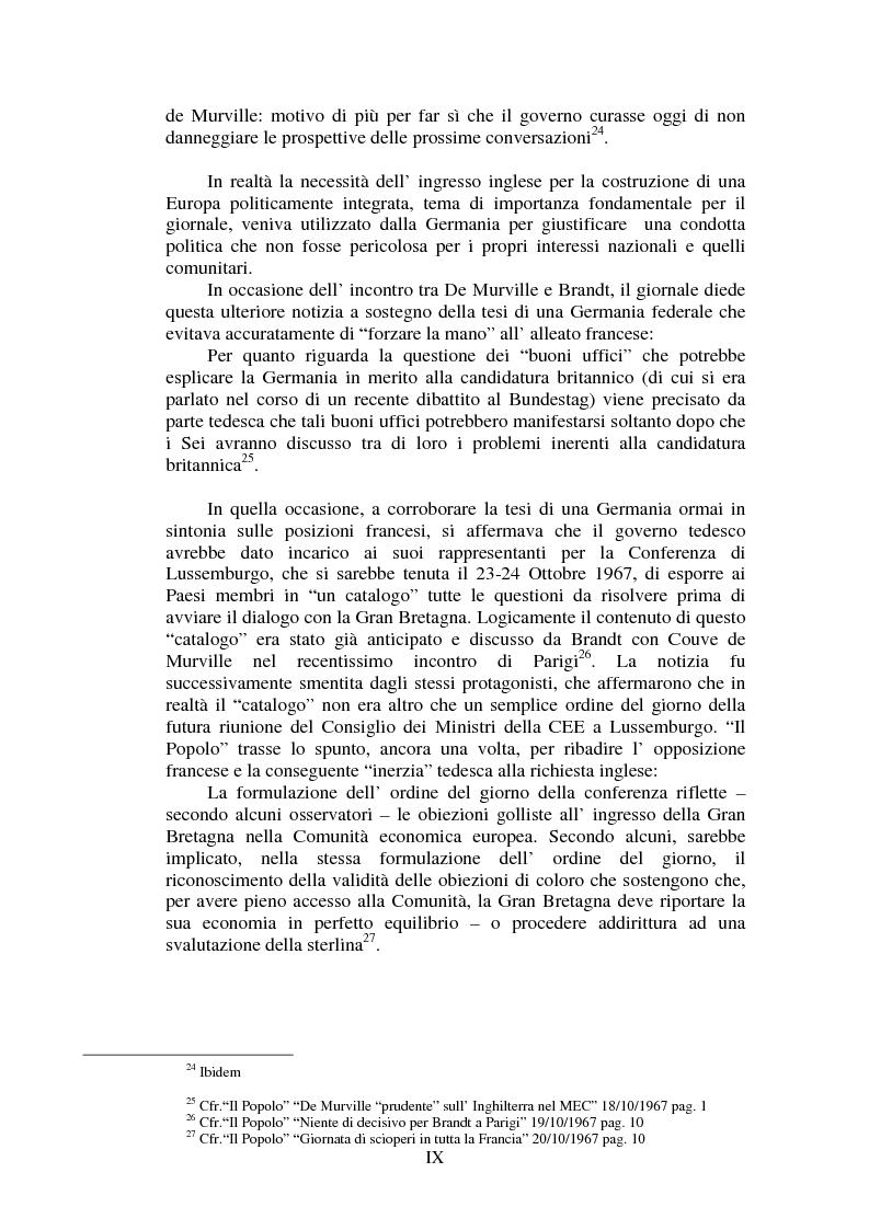Anteprima della tesi: Il Popolo e la seconda richiesta di adesione della Gran Bretagna alla CEE, Pagina 9