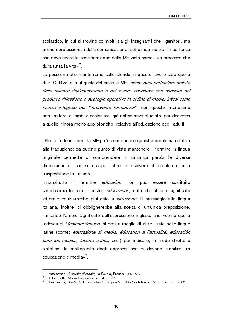 Anteprima della tesi: Il ruolo della Media Education nell'educazione degli adulti. Stato della questione e analisi di un caso, Pagina 7