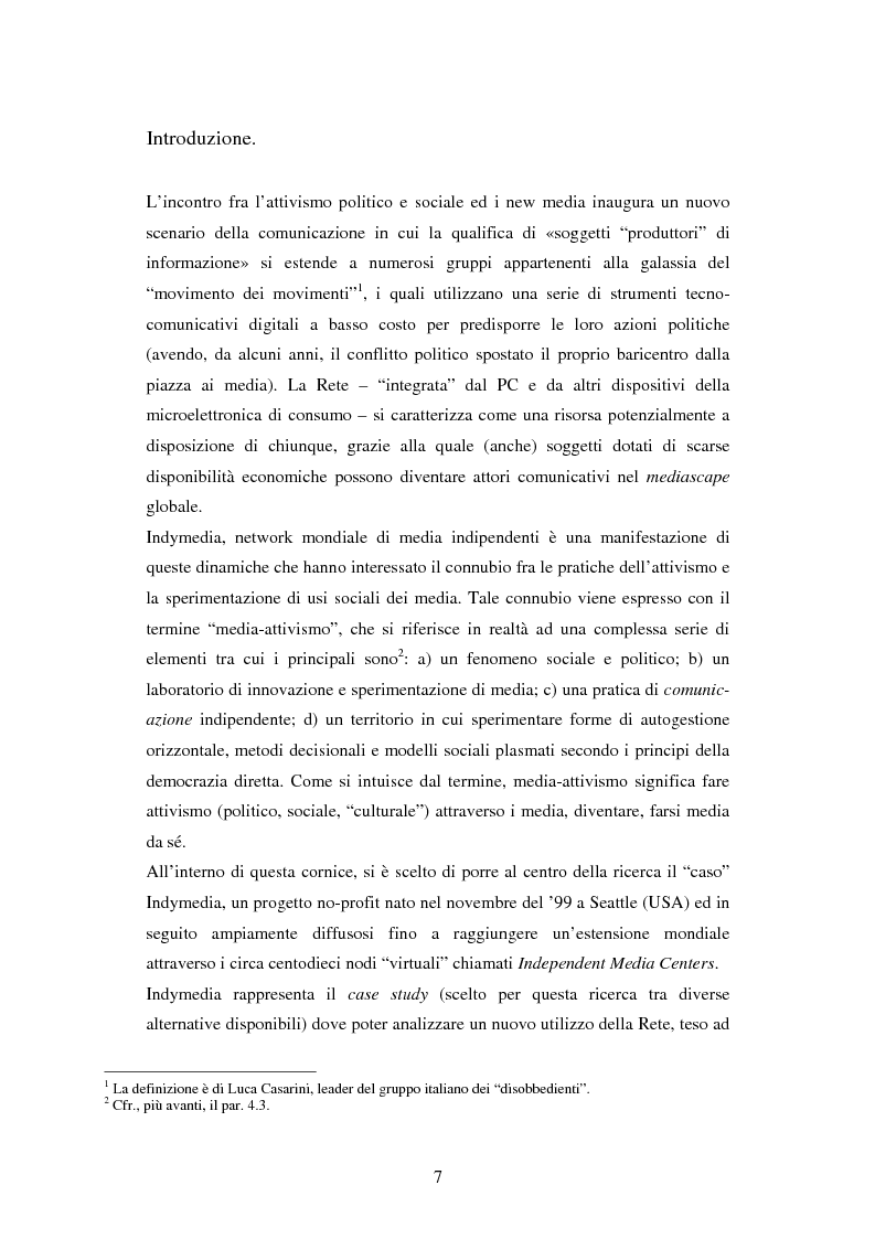 Anteprima della tesi: Indymedia.org: la rete ''intelligente'' del mediattivismo globale?, Pagina 1