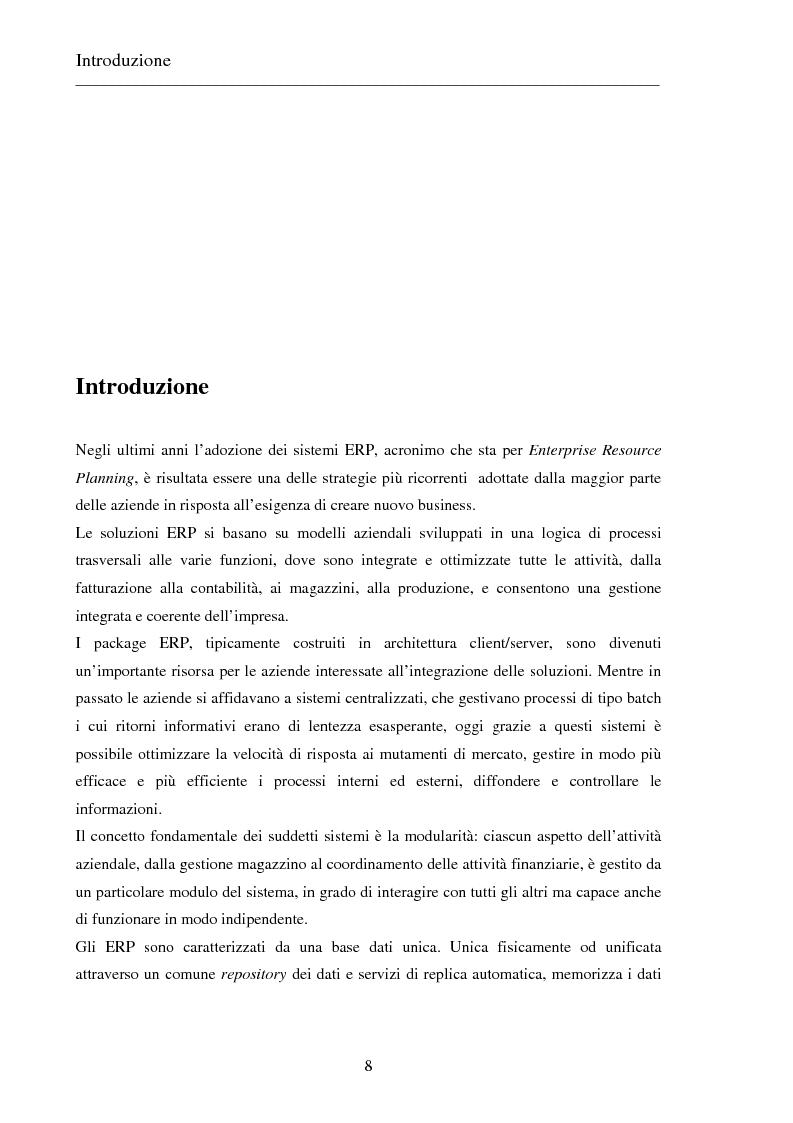 Anteprima della tesi: Il progetto dell'enterprise business solution: vta reconciliation, sviluppo di una soluzione in un contesto multinazionale utilizzando oracle discoverer, Pagina 1